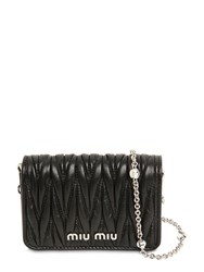 Miu Miu Mini Leather Card Holder W Crystal Strap Black