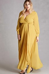 Forever 21 Plus Size Surplice Maxi Dress Yellow