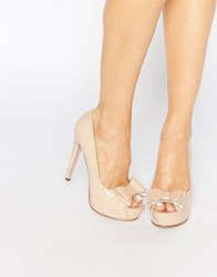 Little Mistress Bette Bow Peep Toe Platform Heeled Shoes Nude Beige
