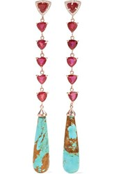 Jacquie Aiche 14 Karat Rose Gold Multi Stone Earrings