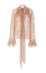 Rodarte Sequin Embellished Long Sleeve Top Pink