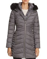 Laundry By Shelli Segal Mixed Quilt Puffer Jacket Steel