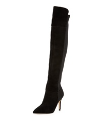 Ivanka Trump Atilla Suede Over The Knee Stretch Boot Black