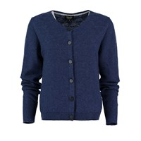 Lowie Cashmere Blend Knit Detail Round Neck Cardigan In Navy