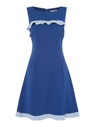 Shubette Sleeveless Crepe Dress With Contrast Frill Navy
