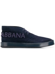 Dolce And Gabbana Logo Lace Up Shoes Blue