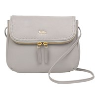 Tula Originals Small Leather Double Zip Flapover Cross Body Bag Grey