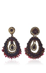 Ranjana Khan Brass Onyx Ruby Earrings Red