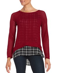 Design Lab Lord And Taylor Knit Mock Layered Top Burgundy