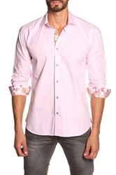 Jared Lang Long Sleeve Contrast Trim Semi Fitted Shirt Pink