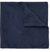 Thom Browne Hector Silk And Cotton Blend Jacquard Pocket Square Blue