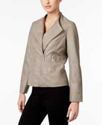 Alfani Petite Faux Leather Moto Jacket Only At Macy's Wall Street Gray