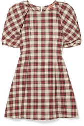 Maggie Marilyn Fashionably Early Plaid Cotton Mini Dress Red