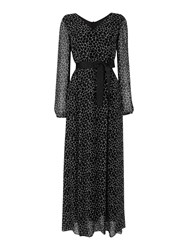 Armani Jeans Long Sleeve Giraffe Print Maxi Dress Black