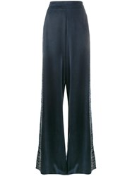 Lot 78 Lot78 Line Embroidered Wide Leg Trousers Blue