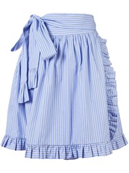 Stella Mccartney Striped Ruffle Trimmed Skirt Blue