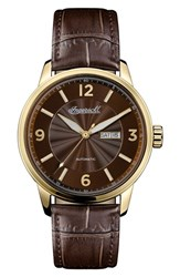 Ingersoll Watches Men's Regent Automatic Leather Strap Watch Brown Gold
