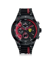 Ferrari Red Rev Evo Black And Red Stainless Steel Case And Silicone Strap Men's Chrono Watch