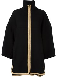 Chloe Contrast Zip Coat Black