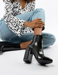 Raid Dolley Black Patent Heeled Ankle Boots Black Crinkle Patent