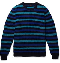 Massimo Piombo Mp Slim Fit Striped Cotton Sweater Navy