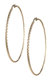 14K Yellow Gold Elephant Skin Design Hoop Earrings Metallic