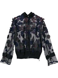 Sacai Transparent Patch Applique Bomber Blue