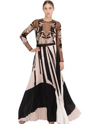 Zuhair Murad Embroidered Tulle And Plisse Cady Gown