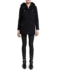 The Kooples Cotton Twill Parka With Fur Lined Hood Black