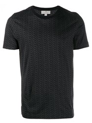 Canali Printed Short Sleeve T Shirt Black
