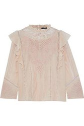 Love Sam Lace Trimmed Ruffled Broderie Anglaise Cotton Blend Blouse Blush