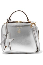 Mark Cross Laura Baby Metallic Textured Leather Shoulder Bag Silver