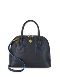 Anne Klein Billie Small Faux Leather Dome Satchel Navy Blue