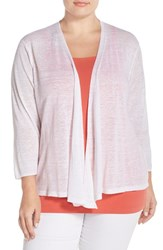 Plus Size Women's Nic Zoe '4 Way' Three Quarter Sleeve Convertible Cardigan Paper White