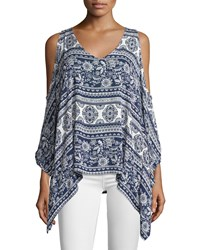 On The Road Printed Cold Shoulder V Neck Tunic Blue White
