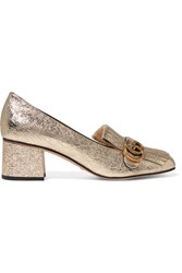 Gucci Fringed Metallic Cracked Leather Pumps Gold