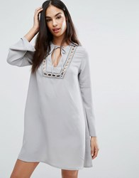 Missguided Lace Insert Smock Dress Gray