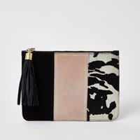 River Island Pink Suede Colour Blocked Clutch Bag