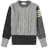 Thom Browne Funmix Aran Cable Four Bar Donegal Crew Knit Grey