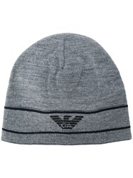 Emporio Armani Logo Embroidered Beanie Hat Grey