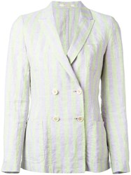 Massimo Alba Double Breasted Blazer Women Linen Flax L Green
