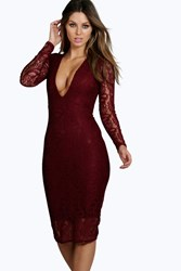 Boohoo Lace Long Sleeve Plunge Bodycon Dress Berry