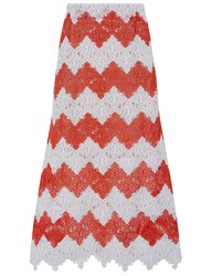 Macgraw Red And White Crochet Steeple Midi Skirt