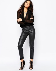 Blank Nyc Leather Look Skinny Jeans Black