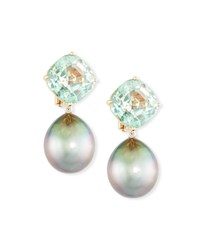 Assael 18K Rose Gold Tourmaline And Tahitian Pearl Clip On Drop Earrings