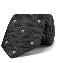 Alexander Mcqueen 8Cm Embroidered Prince Of Wales Checked Silk Jacquard Tie Gray