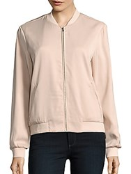 Saks Fifth Avenue Red Baseball Collar Bomber Jacket Blush