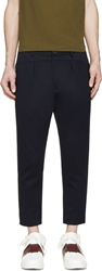 Undecorated Man Navy Neoprene Slash Trousers