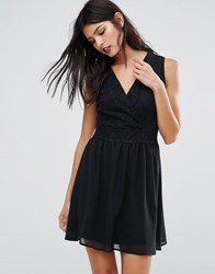 Pussycat London Cross Front Skater Dress Black