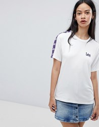 Lee T Shirt With Taping And Logo White Purple